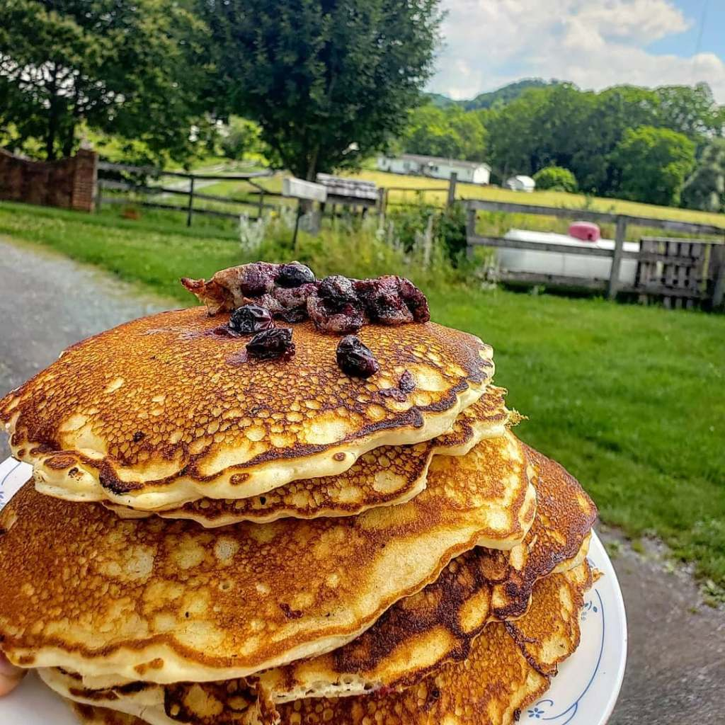 Blueberry pancakes fresh off the Blackstone Griddle