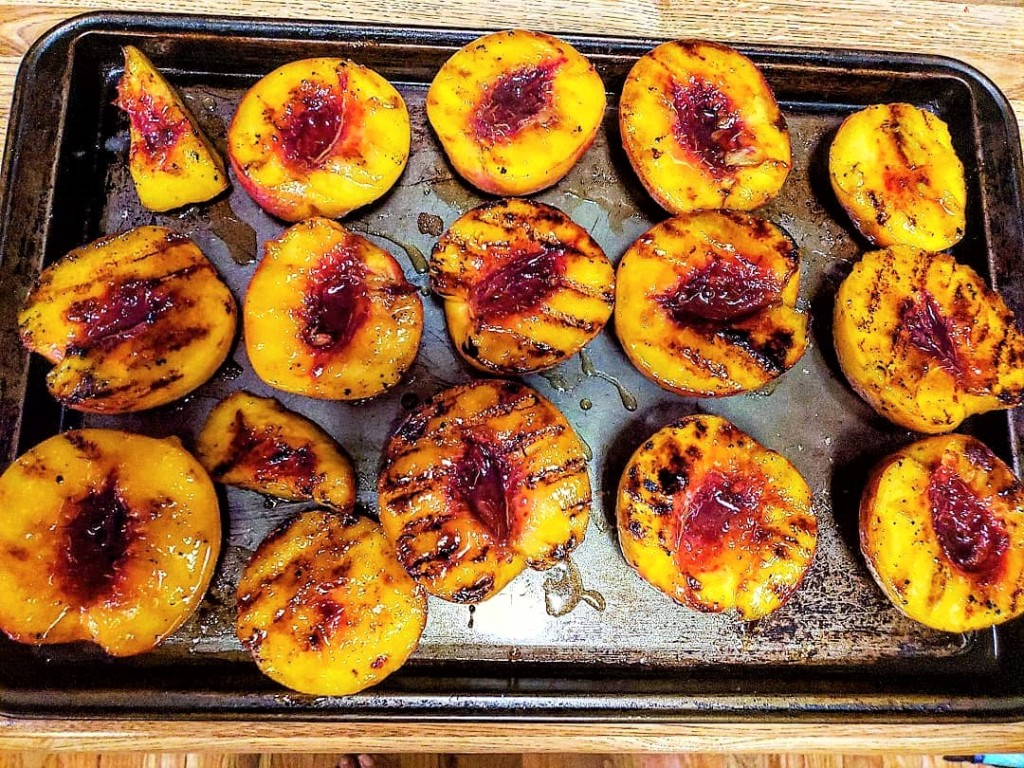 grilled peaches with bourbon brown sugar sauce