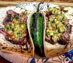 Carne asada tacos with flank steak