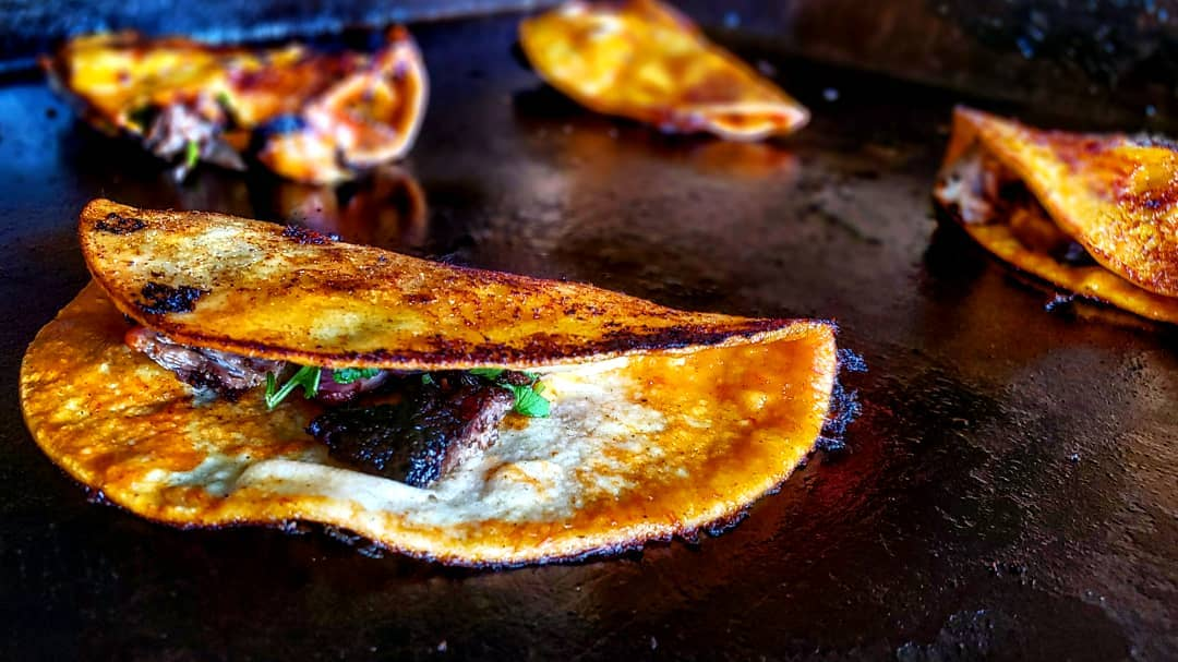 Enchilada tacos with smoked beef on the Blackstone Griddle