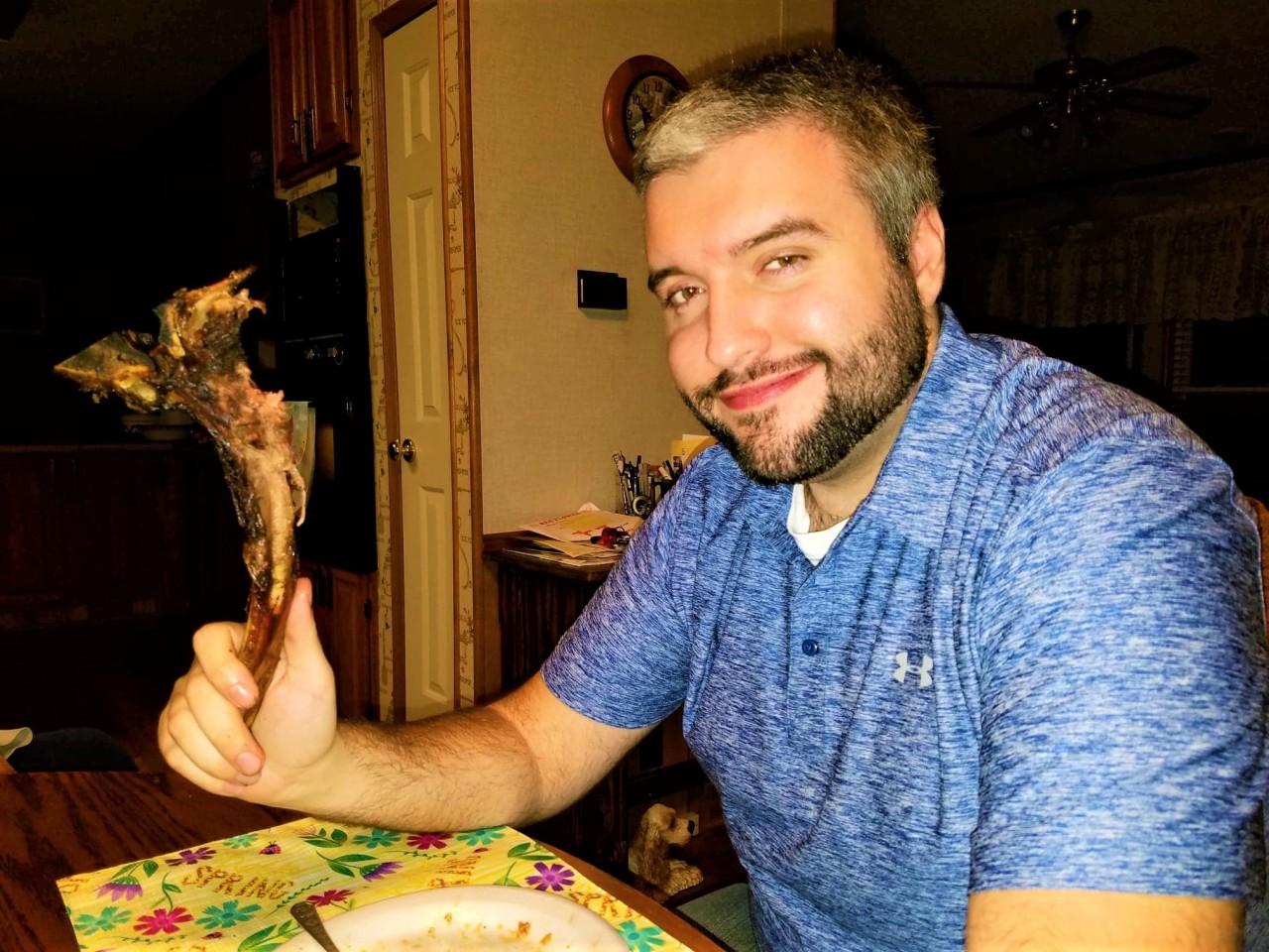 Me and a tomahawk ribeye bone