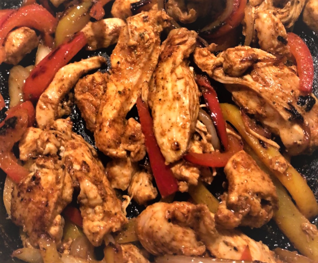 Cooked chipotle chicken fajitas on the Blackstone Griddle