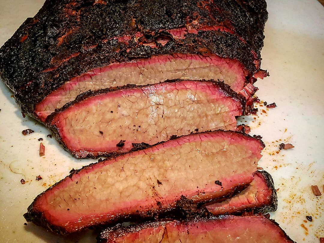 Smoked and sliced beef brisket