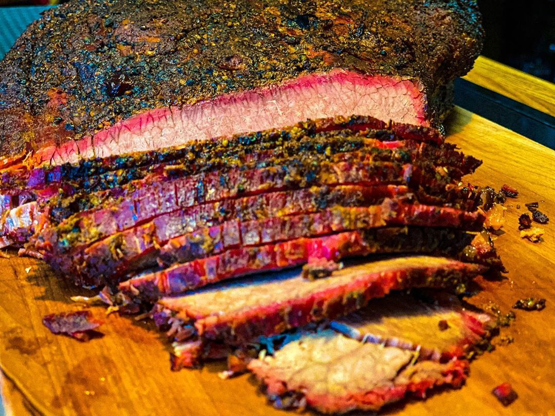 Smoked, sliced beef brisket