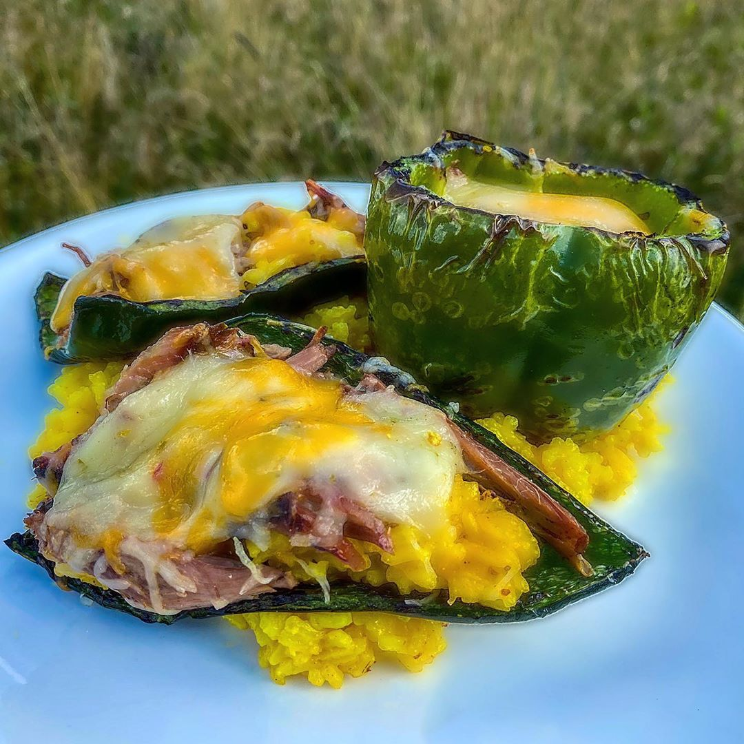 Grilled stuffed poblano peppers and a bell pepper