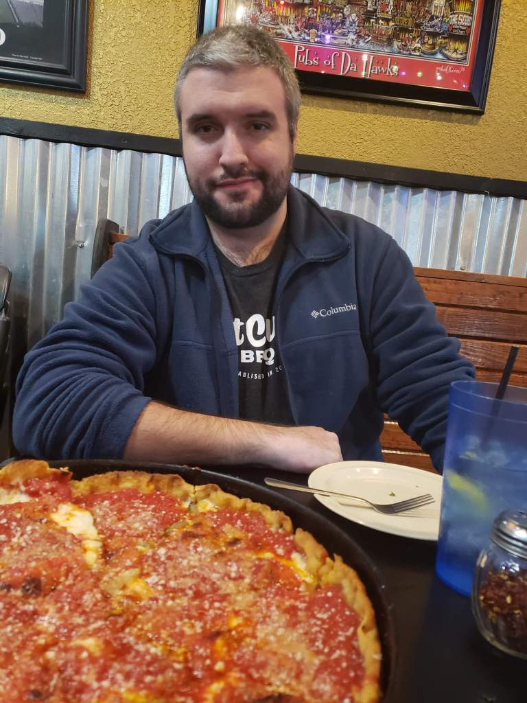 Troy Sparks with The Angry Italian Chicago style deep dish pizza